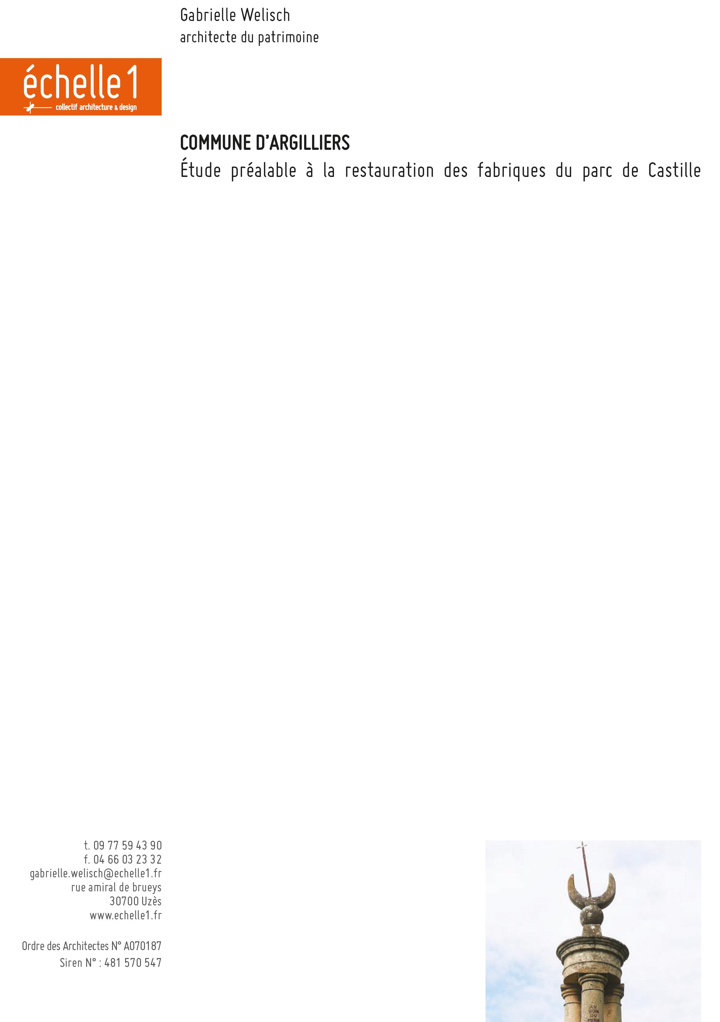 Etude préalable à la restauration des fabriques duParc de Castille